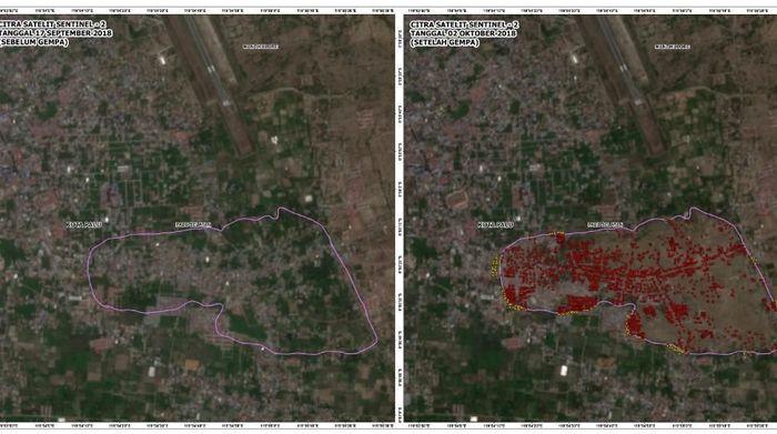 Citra satelit amblesan tanah di Palu (Foto: LAPAN)