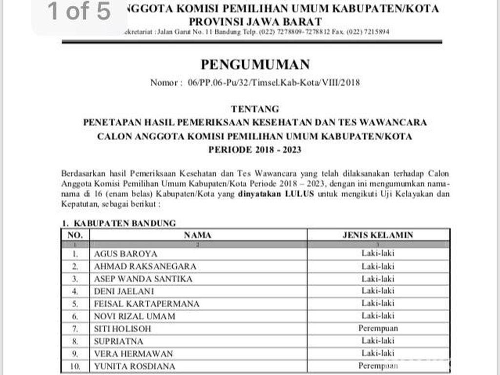 Calon Dirombak Pusat, Seleksi Anggota KPU di Jawa Barat Ada Apa?