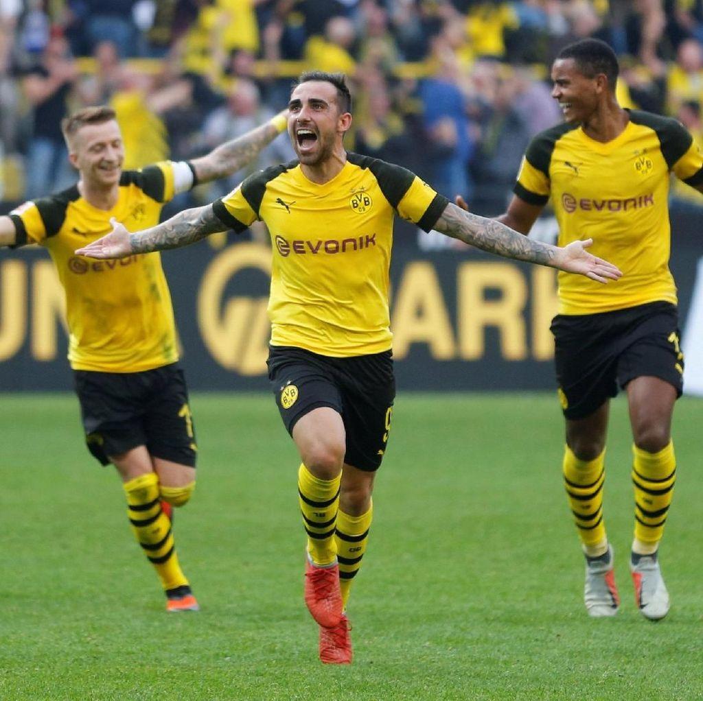 Hasil Liga Jerman: Paco Alcacer Hat-trick, Dortmund Menang Dramatis