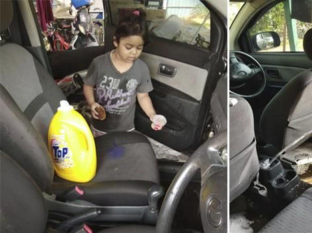 Super Polos, Gadis Ini Bersihkan Interior Mobil seperti Cuci Baju