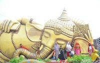 Patung Ganesha Tidur di Desa Wisata Banjarejo, Grobogan, Jateng (Akrom Hazami/detikTravel)