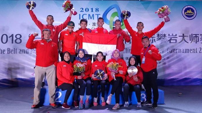 Panjat tebing Indonesia mendulang dua medali emas di Huinan, China. Foto: ist.
