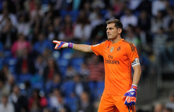 MADRID, SPAIN - MAY 23:  Iker Casillas of Real Madrid reacts during the La Liga match between Real Madrid CF and Getafe CF at Estadio Santiago Bernabeu on May 23, 2015 in Madrid, Spain.  (Photo by Denis Doyle/Getty Images)