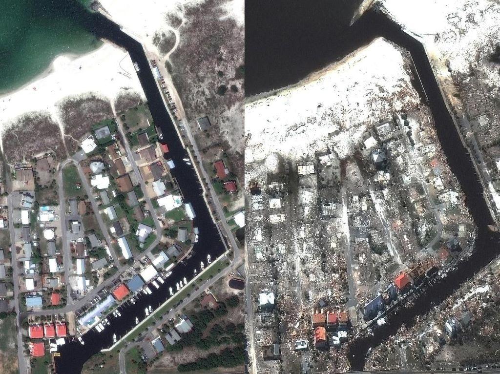 Before-After, Dampak Kerusakan Badai Michael di AS