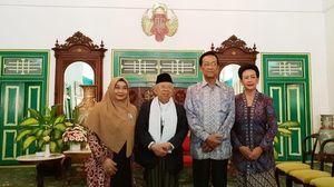 Potret Ma'ruf Amin Disambut Sultan Yogya Bersama Keluarga