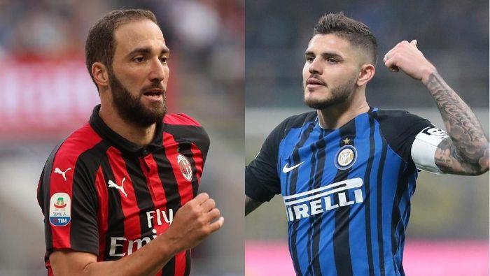 Derby Milan menyajikan adu tajam antara Gonzalo Higuain dengan Mauro Icardi. (Foto: Getty Images)