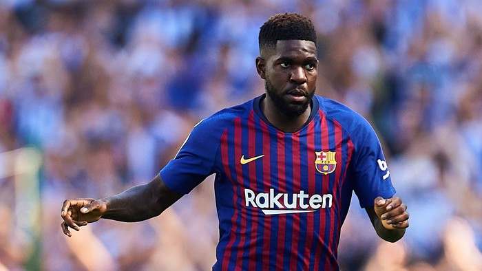 SAN SEBASTIAN, SPAIN - SEPTEMBER 15:  Samuel Umtiti of FC Barcelona  in action during the La Liga match between Real Sociedad and FC Barcelona at Estadio Anoeta on September 15, 2018 in San Sebastian, Spain.  (Photo by Aitor Alcalde/Getty Images)