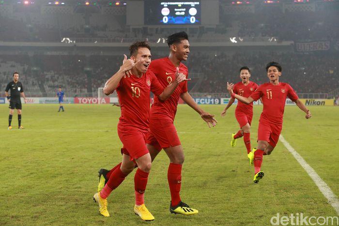 Egy Maulana merayakan gol usai membobol gawang Taiwan di menit ke-50.
