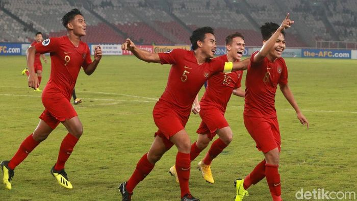 Witan Sulaeman merayakan gol ke gawang Taiwan (Ari Saputra/detikSport)