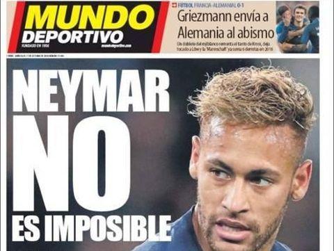 Headline Mundo Deportivo mengklaim Neymar ingin kembali ke Barcelona.