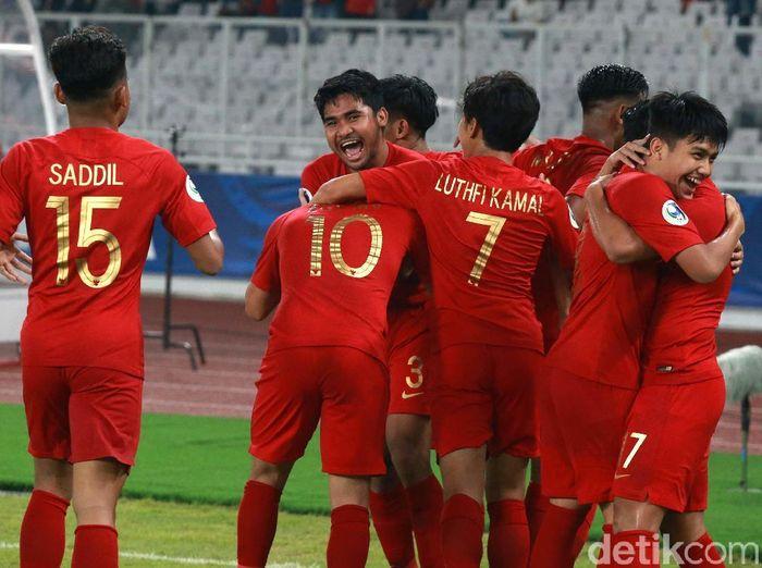 Saddil Ramdani dan Timnas Indonesia merayakan gol Egy Maulana Vikri. (Foto: Ari Saputra/detikcom)