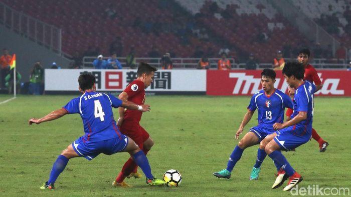 Indonesia saat mengalahkan Taiwan 3-1 di laga Grup A Piala Asia U-19 2018. (Foto: Ari Saputra/detikSport)