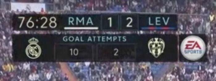 Real Madrid kalah 1-2 dari Levante di pekan ke sembilan La Liga Spanyol. Tampil di Santiago Bernabeu, Sabtu (20/10), Los Blancos gagal medulang poin di kandang meski tampil mendominasi. (Foto: Twitter)