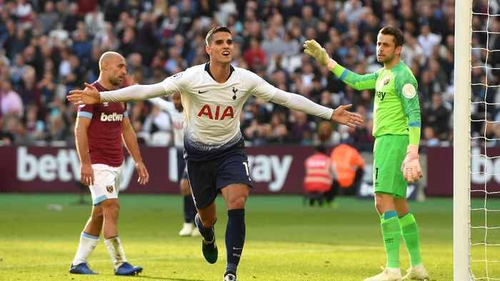 Tottenham Hotspur menang tipis 1-0 atas West Ham United berkat gol Erik Lamela. (Foto: Mike Hewitt/Getty Images)