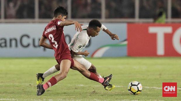Todd Rivaldo Ferre mencetak tiga gol dalam laga menghadapi Qatar pada laga kedua Piala Asia U-19 2018.