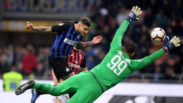 Mauro Icardi menjadi pencetak gol tunggal Inter Milan ke gawang AC Milan.