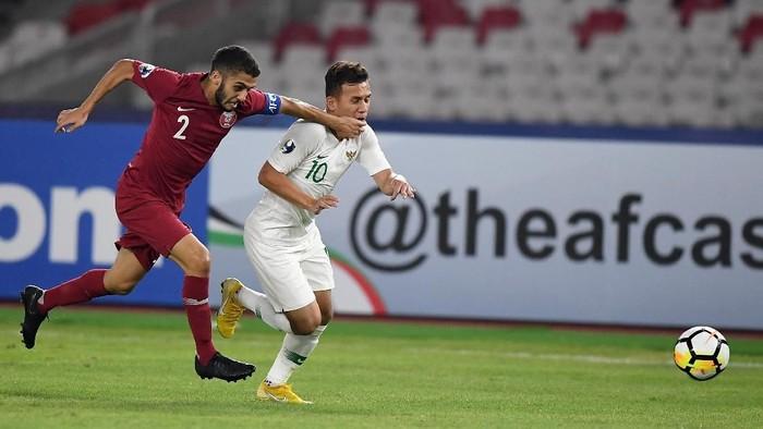 Pemain Indonesia, Egy Maulana Vikri, di laga melawan Qatar d Piala Asia U-19 2018. (Foto: Wahyu Putro A/ANTARA FOTO)