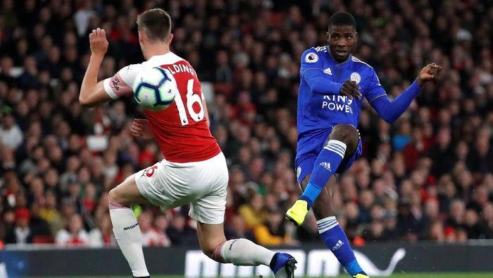 Dalam pertandingan di Emirates Stadium, Selasa (23/10/2018) dini hari WIB, Arsenal dapat tekanan dari Leicester sejak menit-menit awal. Kelechi Iheanacho jadi salah satu pemain yang mengancam gawang Arsenal. Foto: Andrew Boyers/Action Images via Reuters