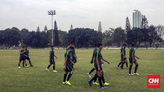 Timnas Indonesia U-19 menjalani latihan terakhir jelang menghadapi UEA, Selasa (23/10).