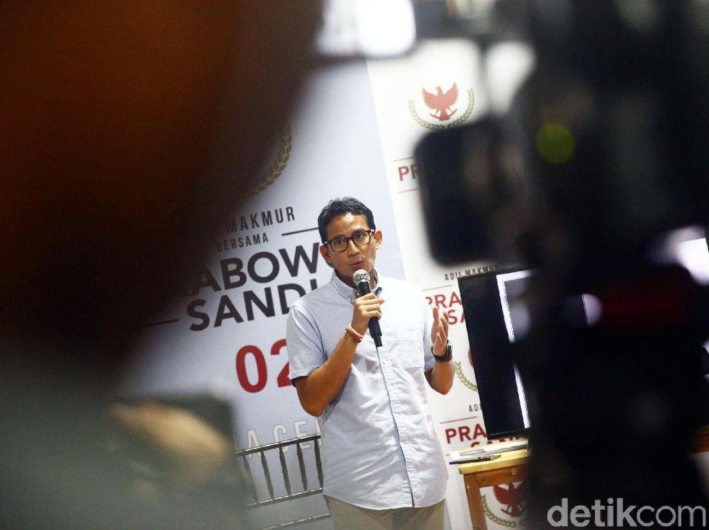 Sandiaga Paparkan Dana Kampanye Prabowo-Sandi