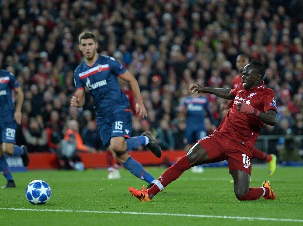 Hasil Liga Champions: Salah Dua Gol, Liverpool Bungkam Red Star 4-0