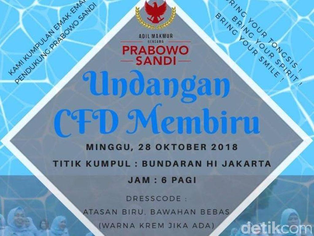 Soal Undangan CFD Membiru Prabowo-Sandi, Timses: Itu Hoax!