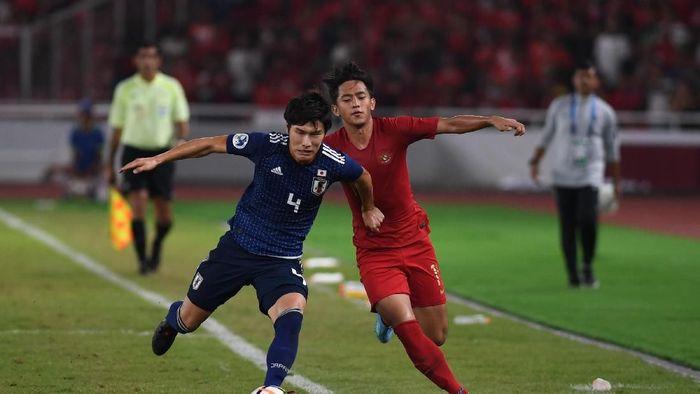 Indonesia kalah 0-2 dari Jepang di perempatfinal Piala Asia U-19 2018 (Akbar Nugroho Gumay/ANTARA FOTO)