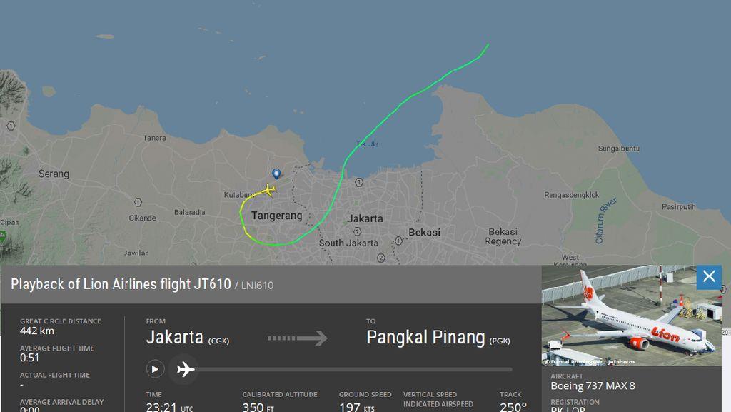 Melihat Rute Lion Air JT 610 Jakarta-Pangkalpinang Sepekan Terakhir