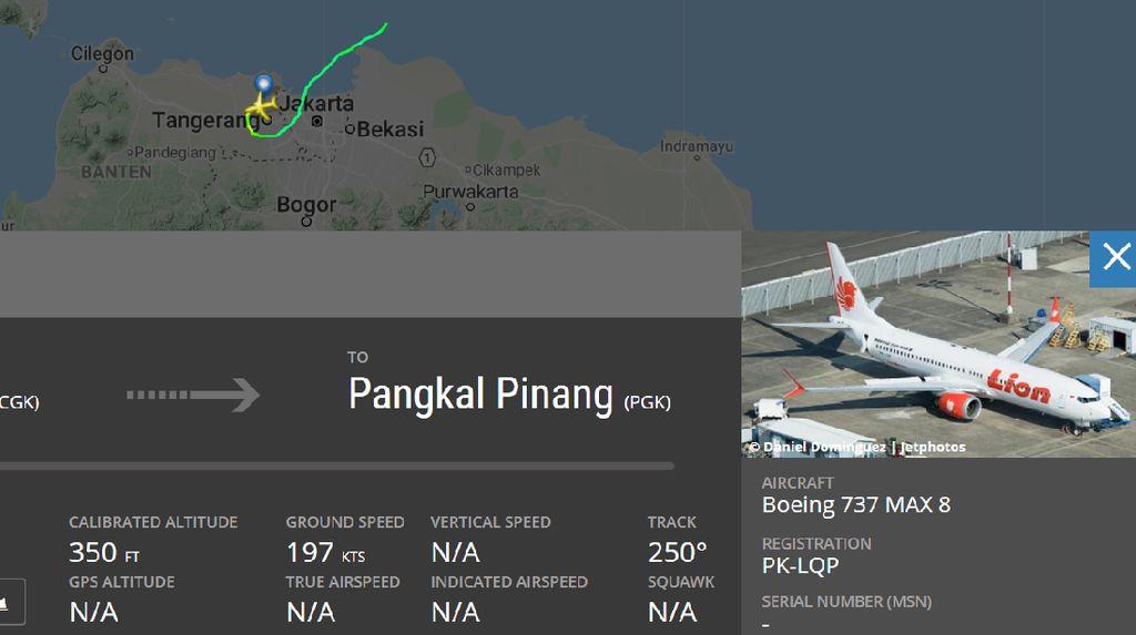 Detik-detik JT 610 Terbang dan Menghilang di Flightradar24