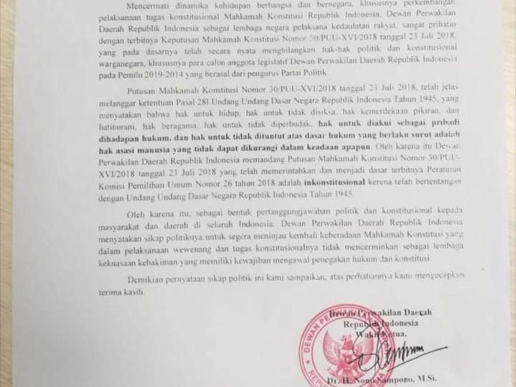 Wakil Ketua DPD Sebut DPR-MPR Juga Minta MK Ditinjau Ulang