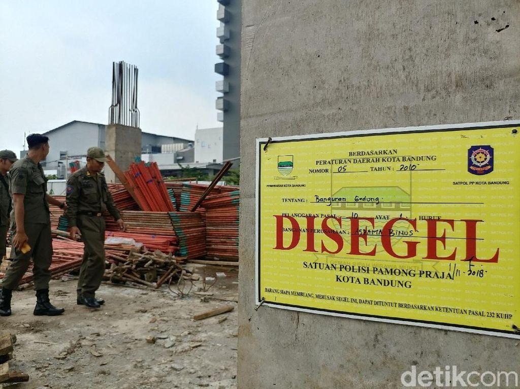 Satpol PP Bandung Segel Proyek Asrama Mahasiswa 8 Lantai Tak Berizin