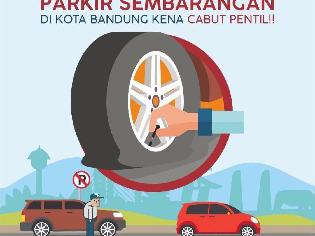 Cabut Pentil Kendaraan di Bandung Belum Dibarengi Tilang