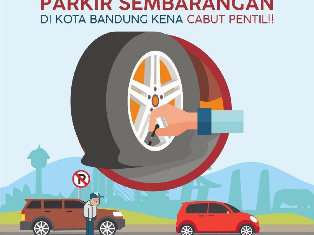 Parkir Sembarangan di Bandung Disanksi Cabut Pentil Ban