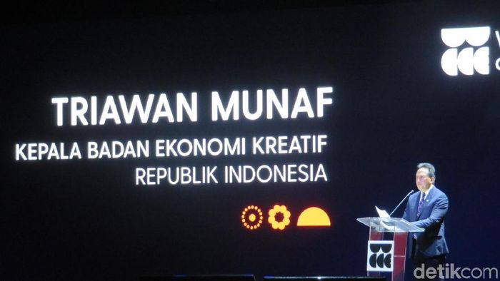 Kepala Badan Ekonomi Kreatif, Republik Indonesia, Triawan Munaf, saat berpidato pada acara pembukaan konferensi ekonomi kreatif pertama di dunia, The World Conference on Creative Economy (WCCE) 2018 di Nusa Dua, Bali, Rabu (7/11/2018). Foto: Eduardo Simorangkir