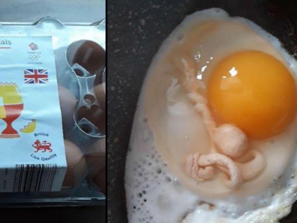 Kaget! Wanita Ini Temukan Bentuk Mirip Tali Pusar dalam Telur