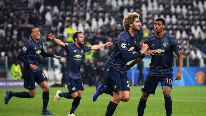 MU menang 2-1 atas Juventus di Allianz-Stadium, Turin, Kamis (8/11/2018) dini hari WIB. Sempat tertinggal, The Reds berbalik menang 2-1. (Foto: Shaun Botterill/Getty Images)
