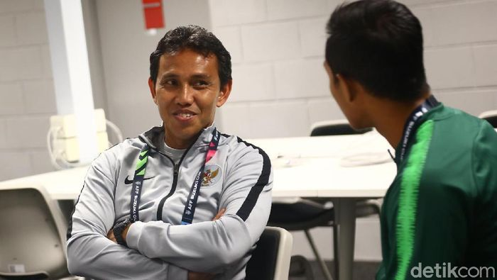 Pelatih timnas Indonesia, Bima Sakti. (Foto: Pradita Utama/detikSport)