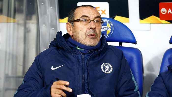 Maurizio Sarri tak puas dengan performa Chelsea lawan BATE Borisov (Vasily Fedosenko/Reuters)