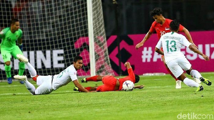 Singapura menang 1-0 atas Indonesia di laga pertama Piala AFF 2018. (Foto: Pradita Utama)