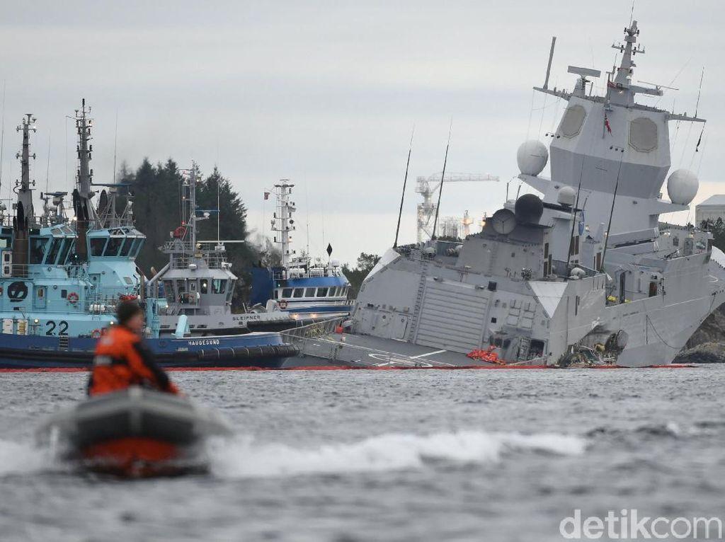 Tabrak Tanker Minyak, Kapal Perang Norwegia Nyaris Tenggelam