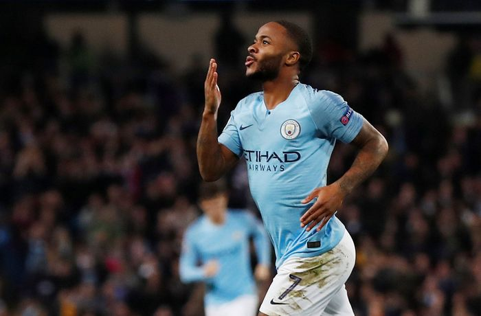 Soccer Football - Champions League - Group Stage - Group F - Manchester City v Shakhtar Donetsk - Etihad Stadium, Manchester, Britain - November 7, 2018  Manchester Citys Raheem Sterling celebrates scoring their third goal      Action Images via Reuters/Lee Smith