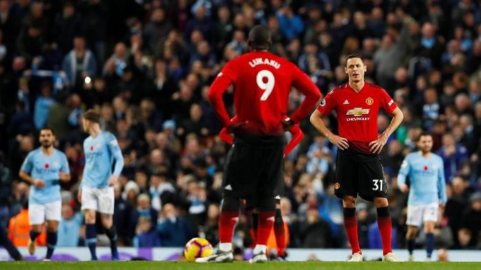 Manchester United tersungkur di markas Manchester City 1-3. (Foto: Jason Cairnduff/Action Images via Reuters)