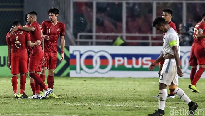 Indonesia saat menaklukkan Timor Leste di Piala AFF 2018. (Foto: Pradita Utama/detikcom)