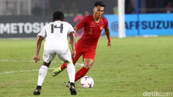 Alfath Fathier mencetak gol di laga debut kompetitifnya bersama Timnas Indonesia. (Foto: Pradita Utama/detikcom)