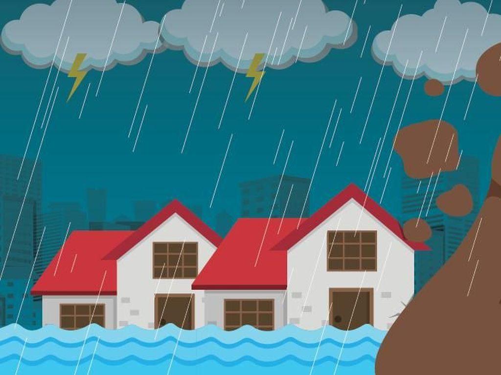 Jalan Syaridin Ragunan Jaksel Terendam Banjir Setinggi 1,5 Meter