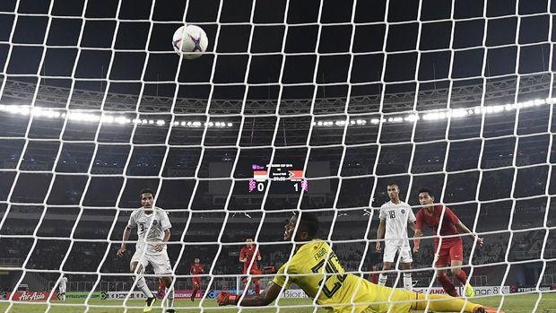 Timnas Indonesia kebobolan lebih dulu ketika menghadapi Timor Leste di Piala AFF 2018.