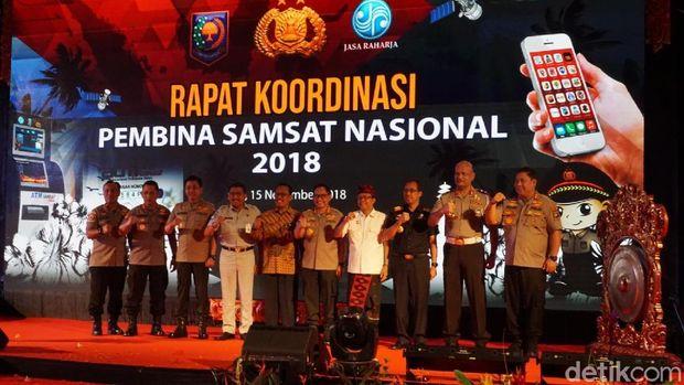 Kapolri Jenderal Tito Karnavian dalam  Rapat Koordinasi Pembina Samsat Nasional 2018, di Kartika Plaza,  Kuta,  Bali (15/11/2018).
