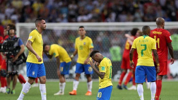 Timnas Brasil saat disingkirkan Belgia di Piala Dunia 2018 (Buda Mendes/Getty Images)