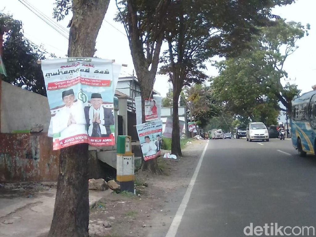 TKD Garut Cabuti Poster Jokowi-Maruf Amin yang Dipaku di Pohon