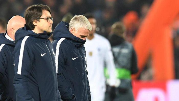 Didier Deschamps memberi wejangan yang pas untuk Timnas Prancis hingga menang lawan Moldova. ( Foto: Reuters